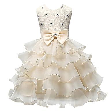 Happy Cherry Enfant Bébé Fille Robe de Princesse Brodé sans Manches - Tutu  Robe de Soirée 6b89f0b2b97