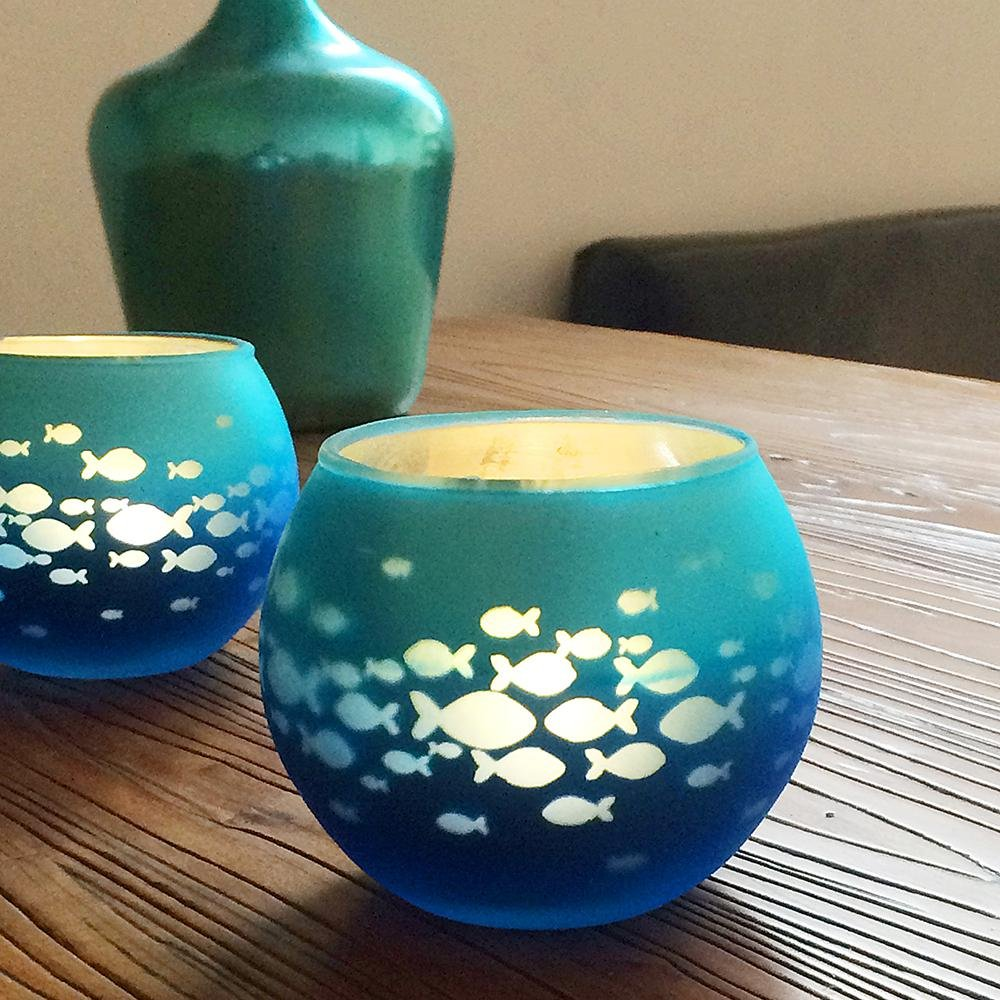 Christmas Wedding Party, Blue Color AOLVO Glass Votive Candle Holder Fish Bowl Candle Holder Mosaic Glass,Handmade Artwork Happy Birthday Home Decor