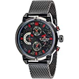 Naviforce Men's Black Dial Leather Band Watch - NF9068-BBR