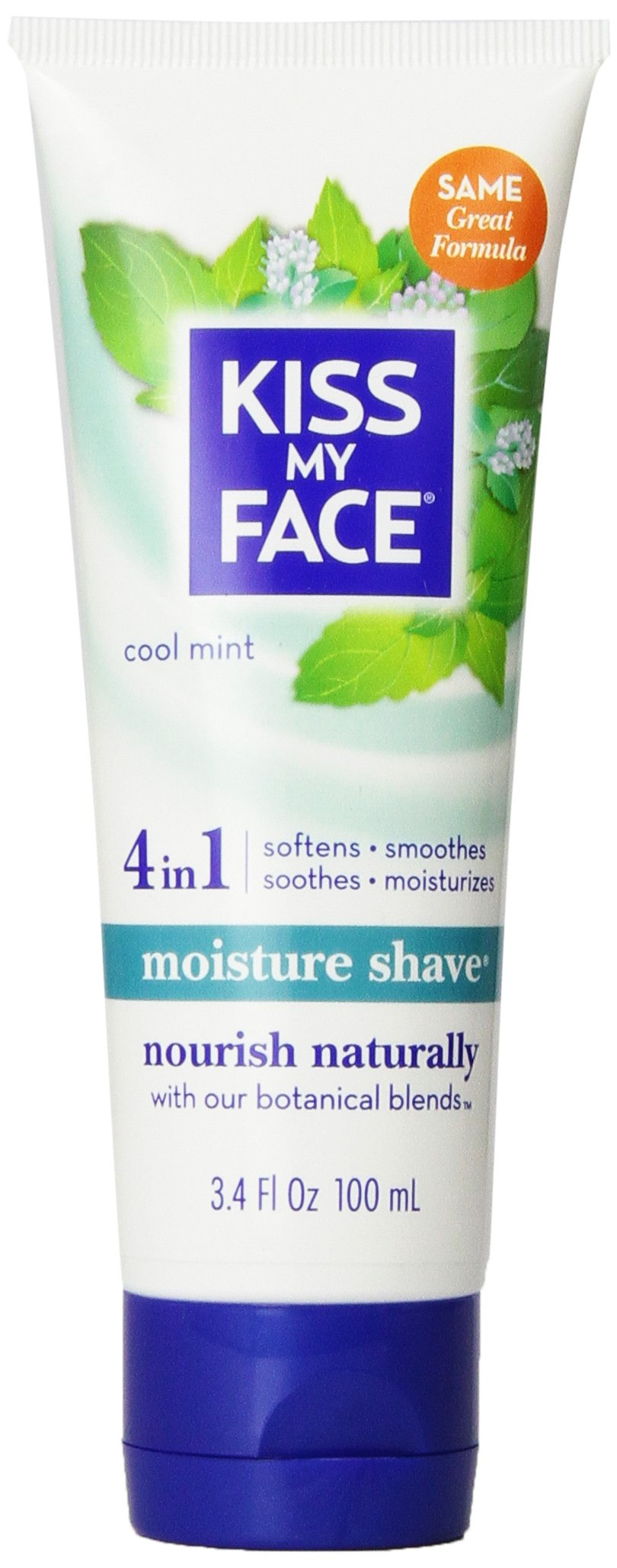 Kiss My Face Moisture Shave Shaving Cream, Cool Mint Shaving Soap, 3.4 Ounce Travel Size