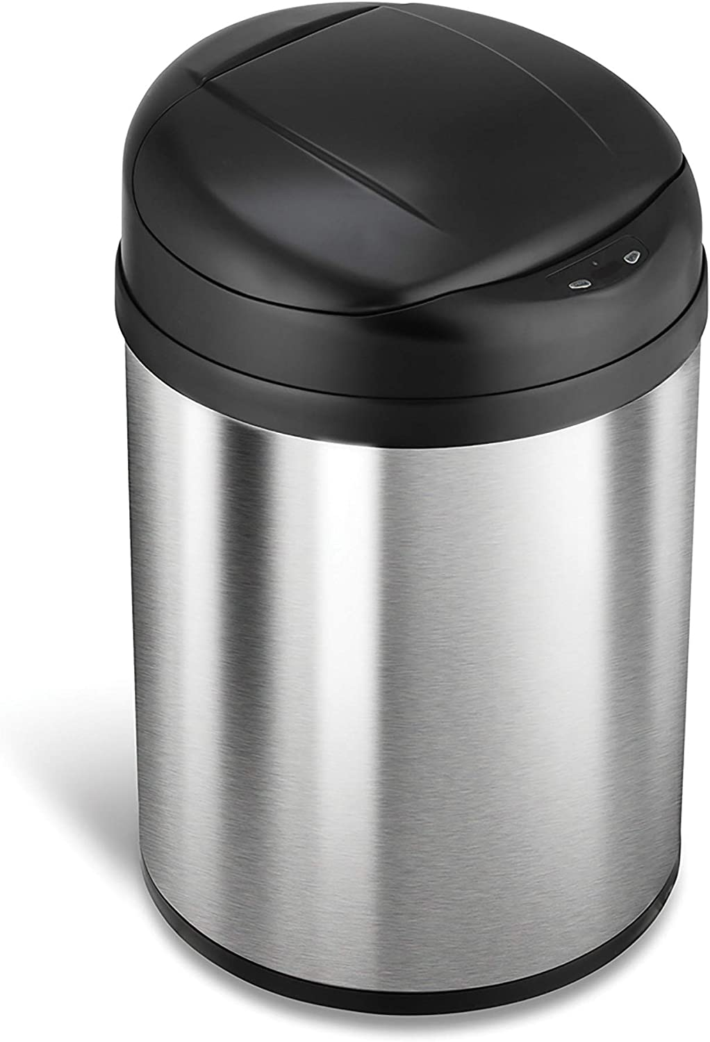 NINESTARS DZT-31-8 Automatic Touchless Infrared Motion Sensor Trash Can, 8 Gal 31L, Stainless Steel Base (Round, Black Lid)