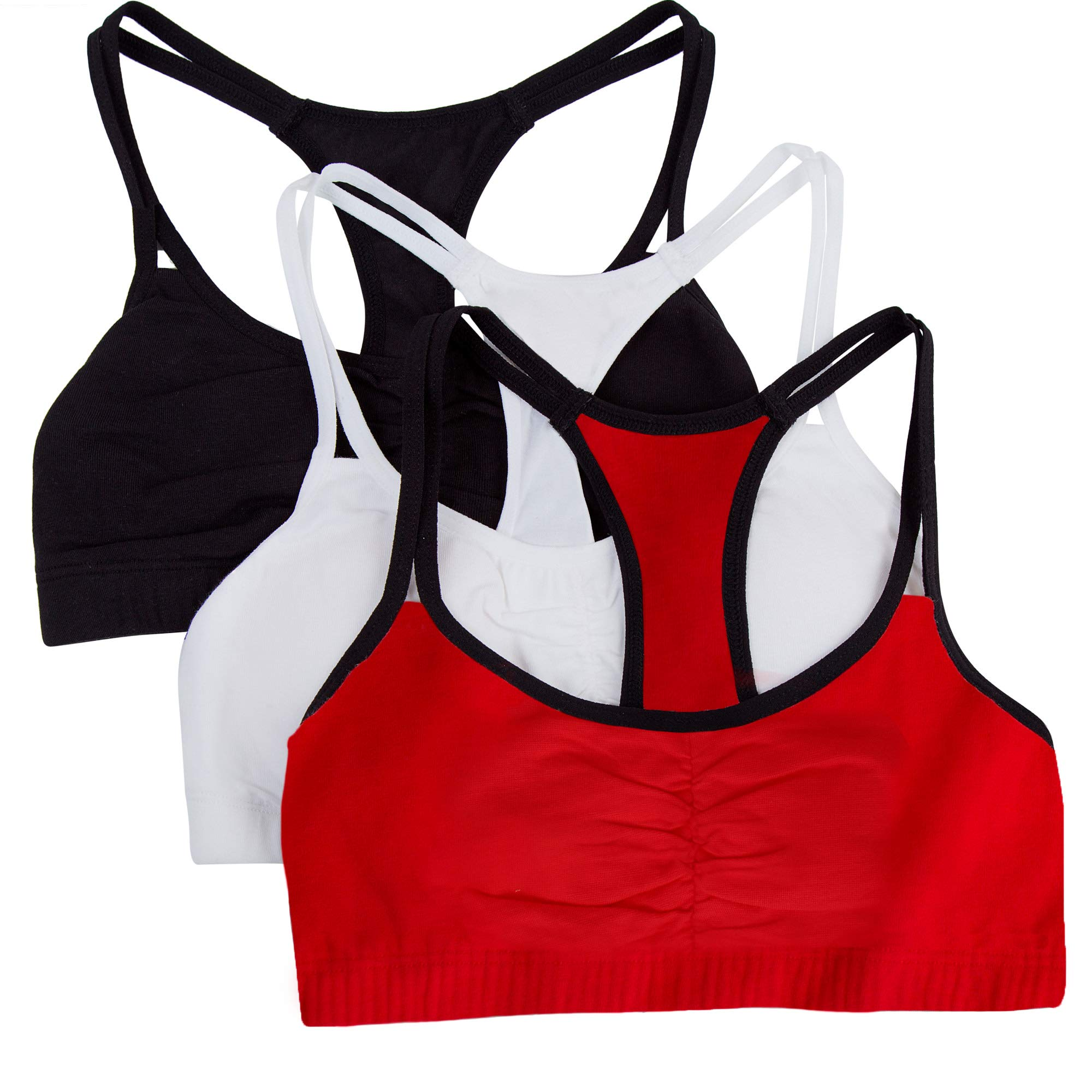 Fruit of the Loom Women's Cotton Pullover Sport Bra (Pack of 3) Bra, Red Hot with Black/White/Black, 32 by Fruit of the Loom