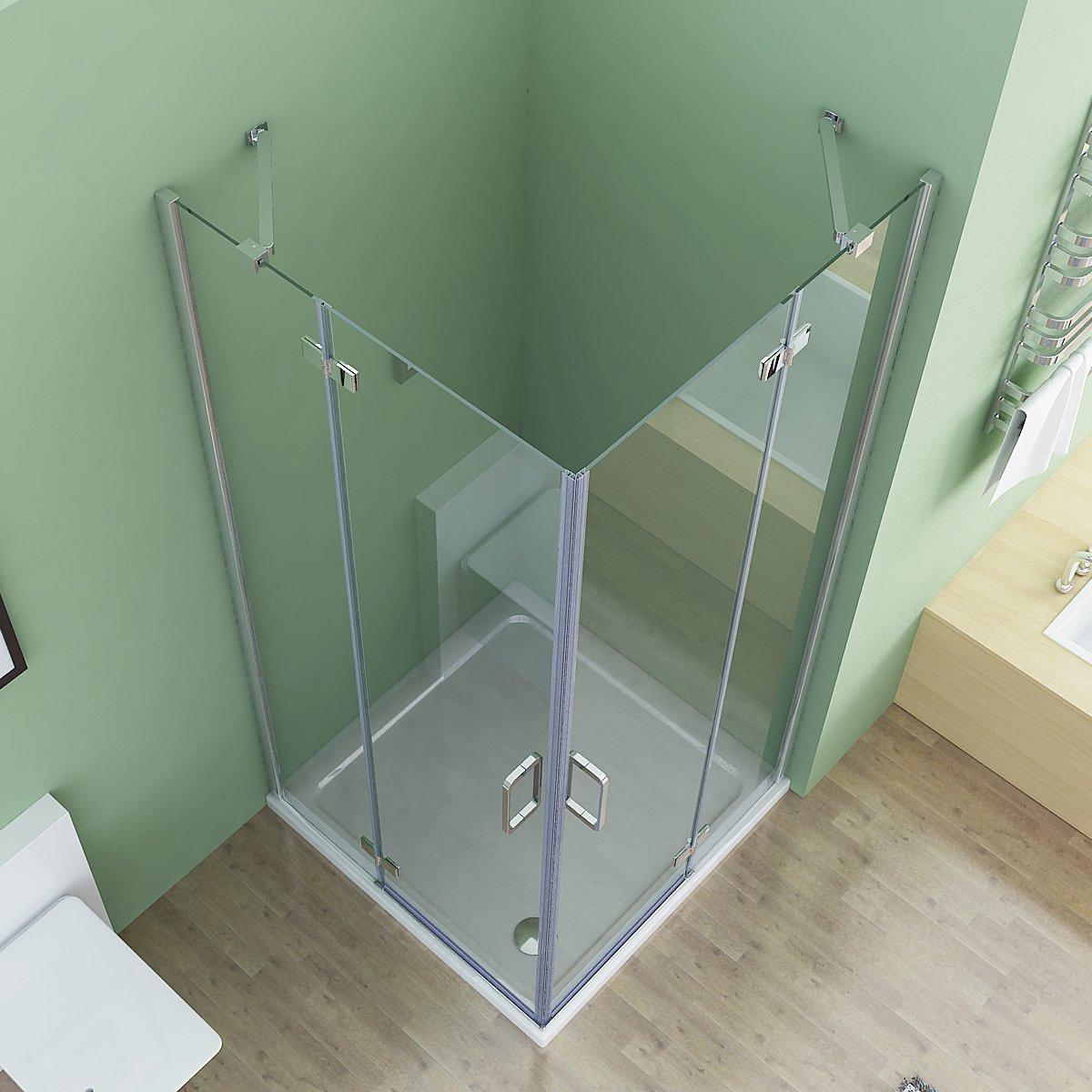80 x 80 x 195 cm Duschkabine Eckeinstieg Dusche Faltt/ür Duschwand Duschabtrennung NANO Glas