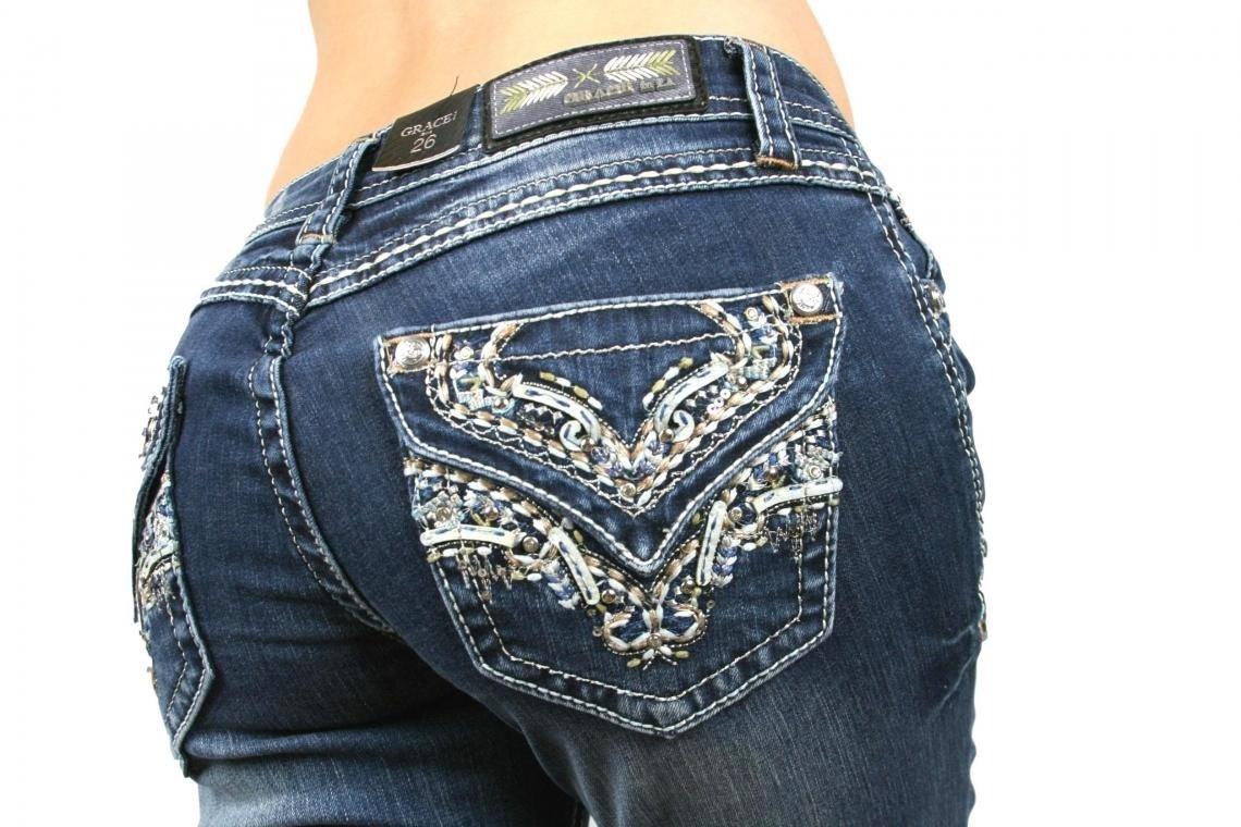 Grace in LA Brown Stitch 51197 Boot Cut Denim Jeans 25-31 - Waist 27
