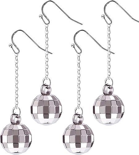 60/'s Go Go Girl Silver Glitter Earrings
