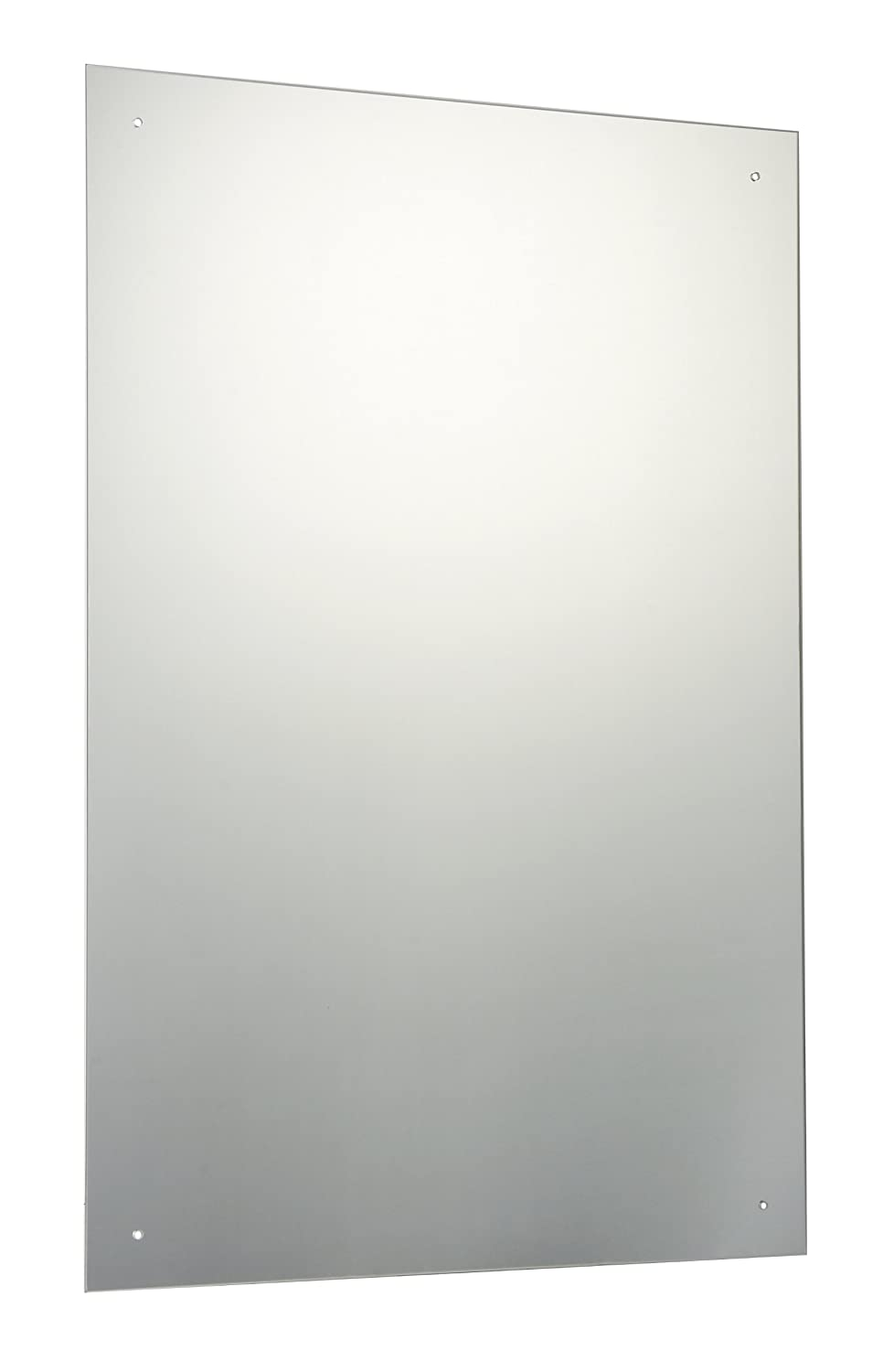 90 x 60cm Rectangle Bathroom Mirror with Drilled Holes & Chrome Cap Wall Hanging Fixing Kit