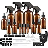 Glass Spray Bottle, SXUDA Amber Glass Spray Bottles Set Roller Bottles for Essential Oils, Cleaning Products or…