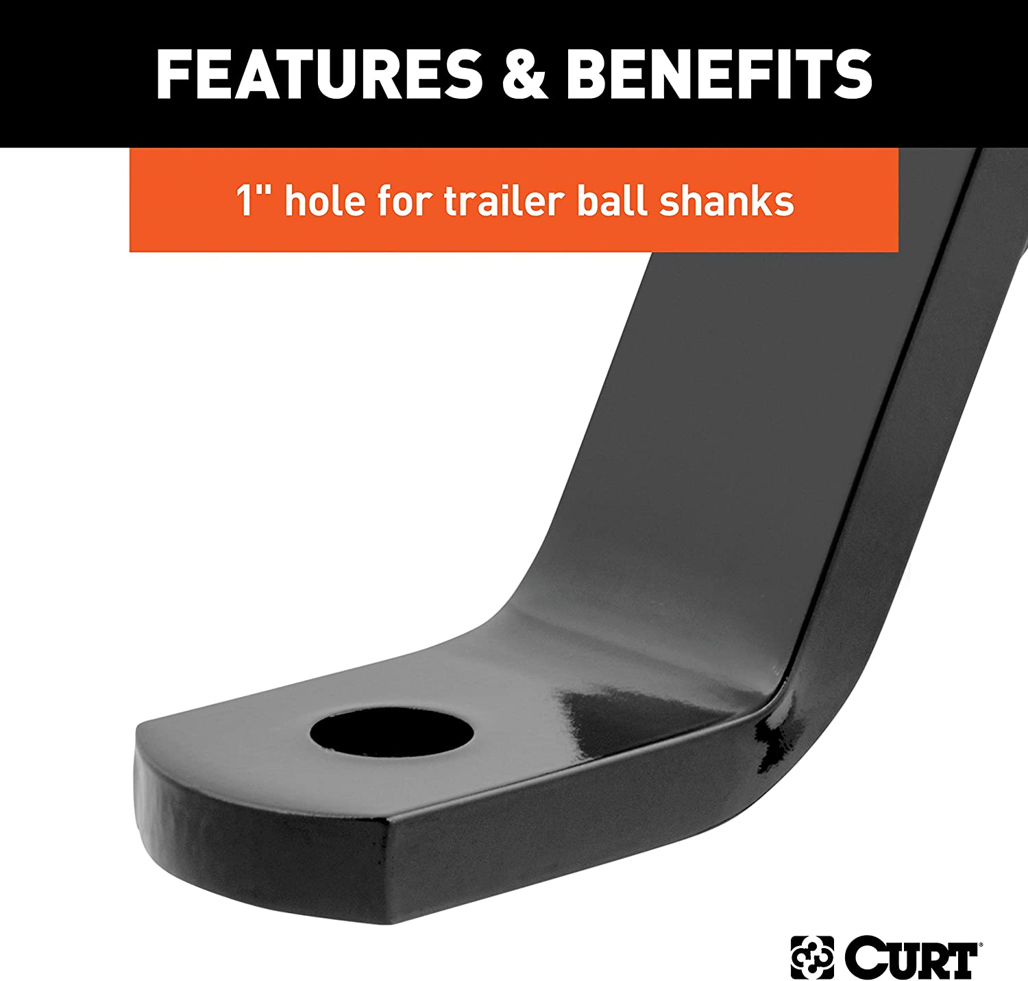 Fits 2 Receiver 5,000 lbs 10-Inch Drop CURT 45110 Class 3 Trailer Hitch Mount GTW 1 Ball Hole