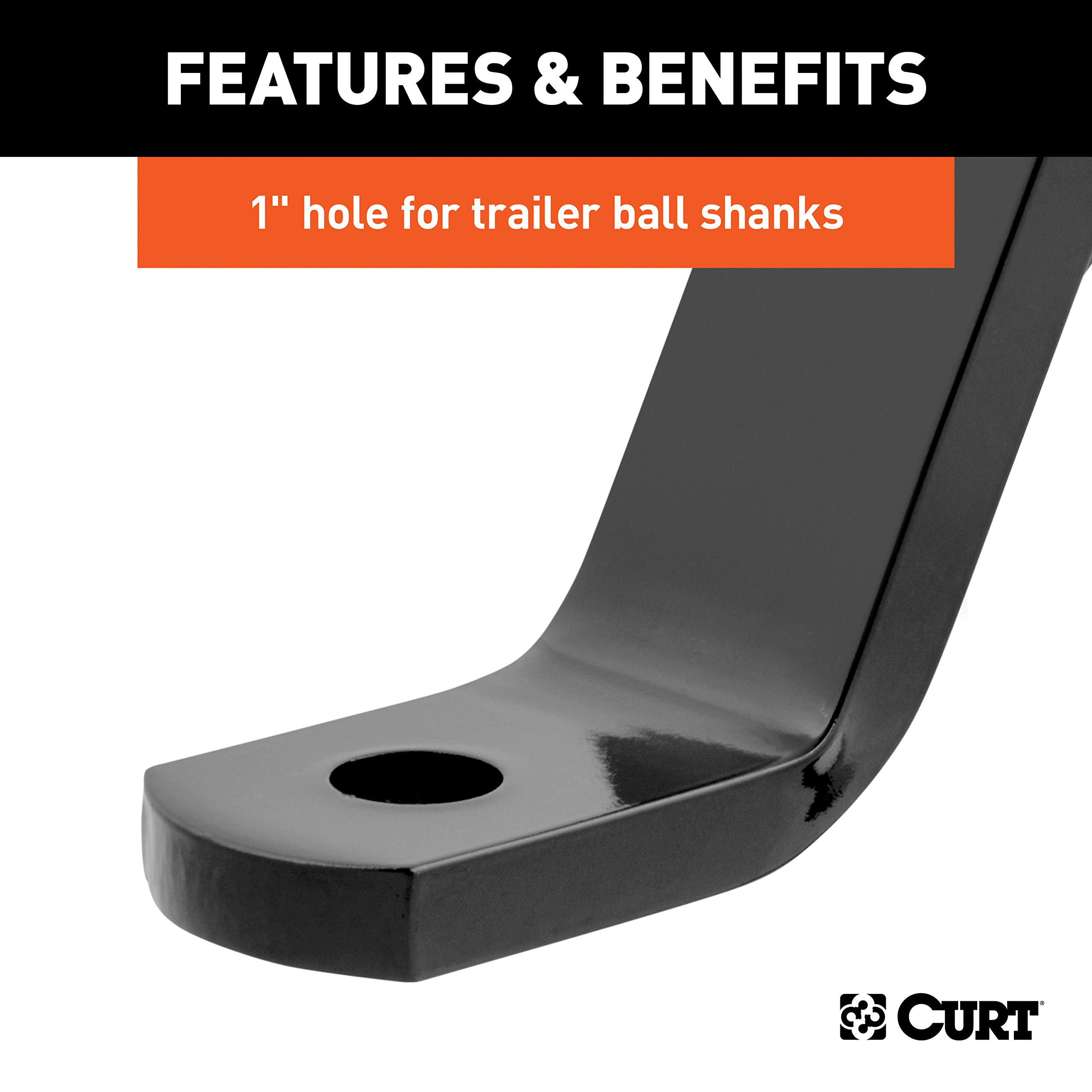 5,000 lbs 1-Inch Ball Hole 10-Inch Drop CURT 45112 Class 3 Trailer Hitch Ball Mount Fits 2-Inch Receiver GTW