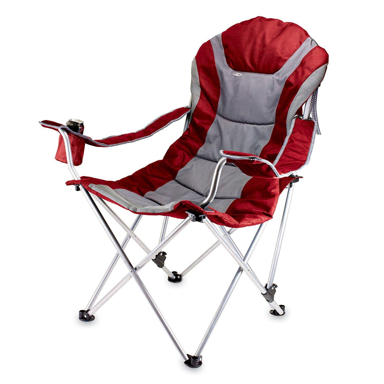 Picnic Time Portable Reclining Camp Chair Red/Grey [並行輸入品] B078BQR8HL