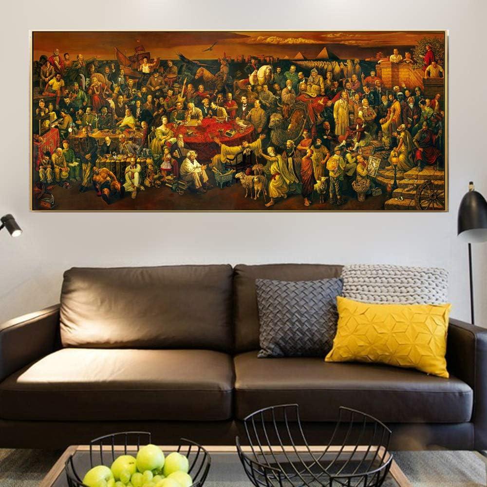 NIMCG Decoración de Pared de Arte Pincel de Paisaje Chino Pintura en la Pared Cartel de Arte y Grabado Resumen Cuadro de Pared de pájaro Dorado para habitación de Cama (sin Marco) A5 60x120CM