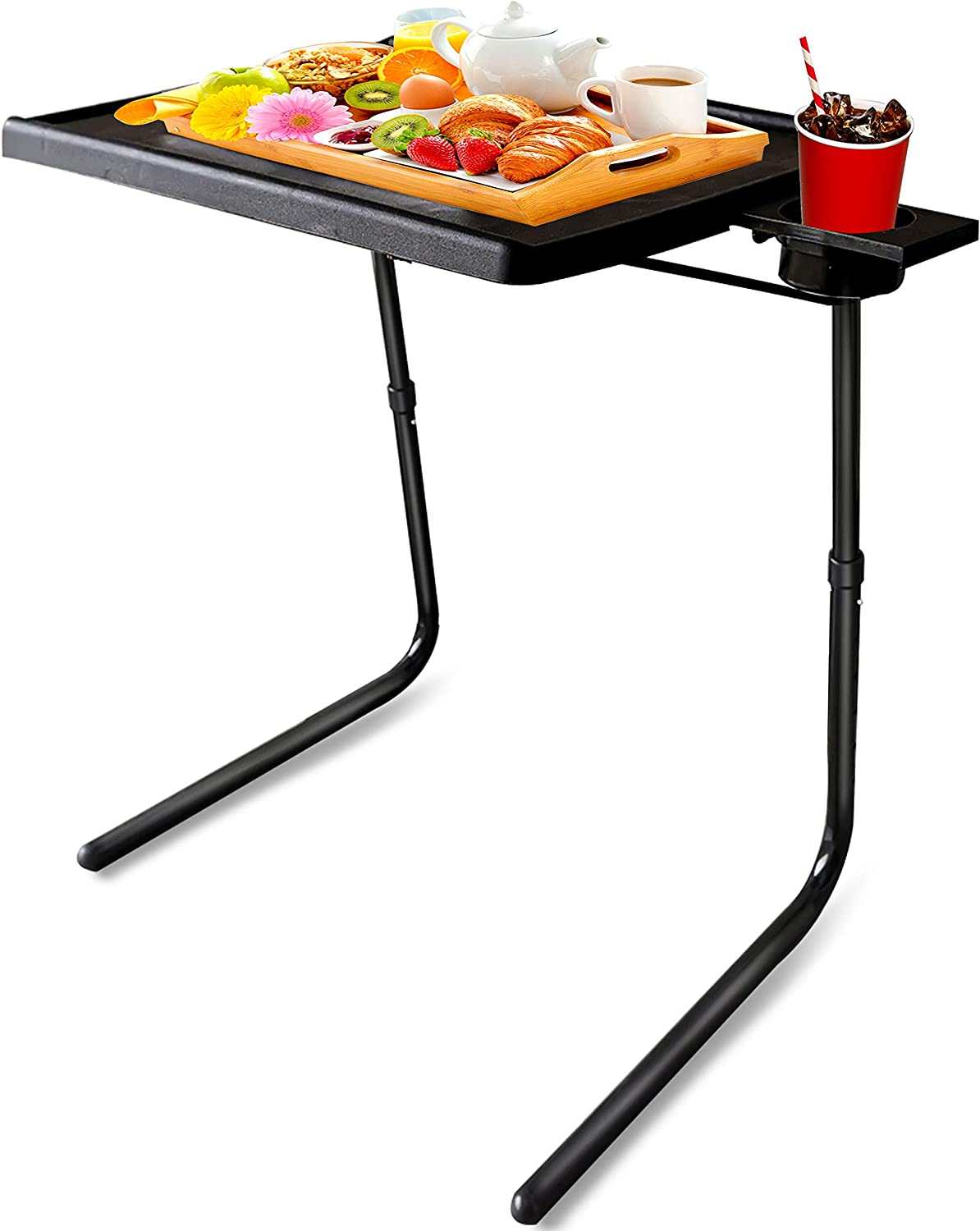Mejerca TV Tray Table Folding TV Dinner Tray on Bed & Sofa, Comfortable Couch Desk Cup Holder Built-in with 6 Height & 3 Tilt Angle Adjustable (Black)
