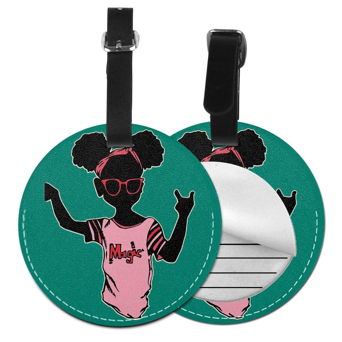 Free-2 Cute Black Girl Magic Luggage Tag 3D Print Leather Travel Bag ID Card