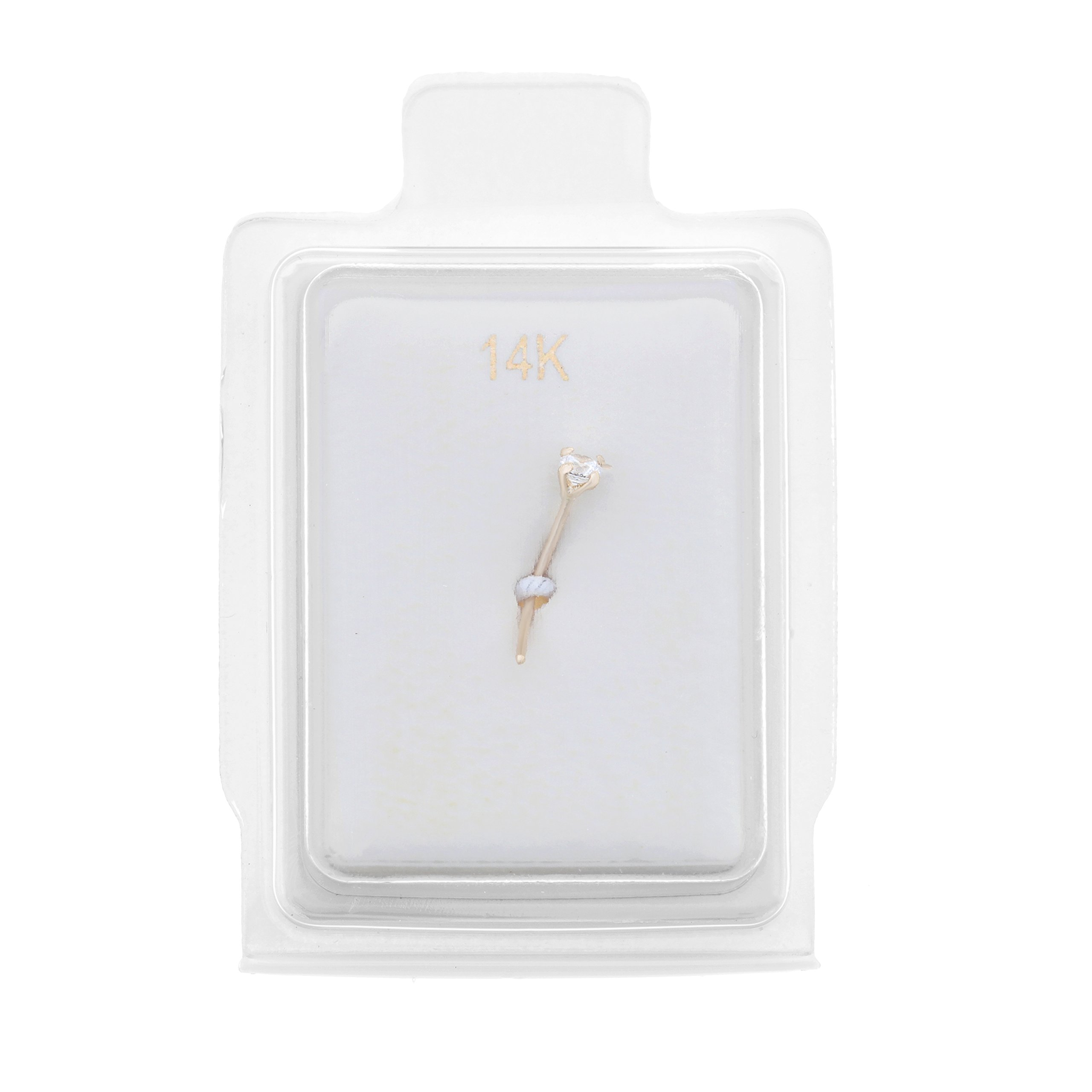 14K Yellow Gold 3mm White Cubic Zirconium Nose Ring L-Shape 22G