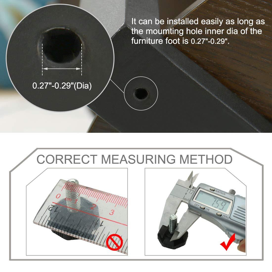 sourcing map Patas tornillos Tapas niveladores nivelador ajustable protector del suelo para patas de muebles banco armario mesas sillas escritorios de M8 x 20 x 28mm 4 pcs