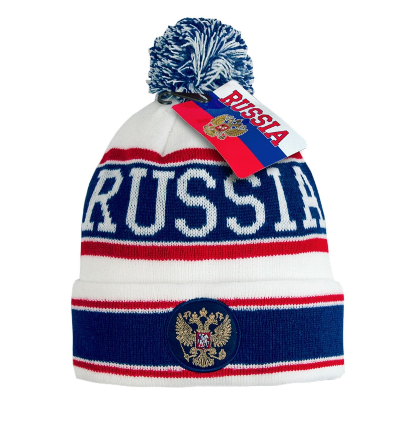 Russia cuffed knit beanie hat with pom, Russian coat of arms, embroidery patch, white/navy L/XL
