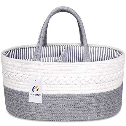 Multicolour Conthfut Baby Diaper Caddy Organizer 100/% Cotton Rope Nursery Storage Bin for Boys and Girls Large Tote Bag /& Car Organizer with Removable Inserts Baby Shower Gift Basket