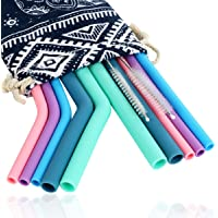 10 Pcs Reusable Silicone Straw With 2 Pcs Cleaning Brush, Silicone Drinking Straws for 20/30 oz Tumbler, for Water Soft…