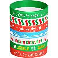 FEPITO 35 Pieces Christmas Wristband Silicone Wristbands Rubber Band Bracelets for Christmas Party Decoration Supplies 7…