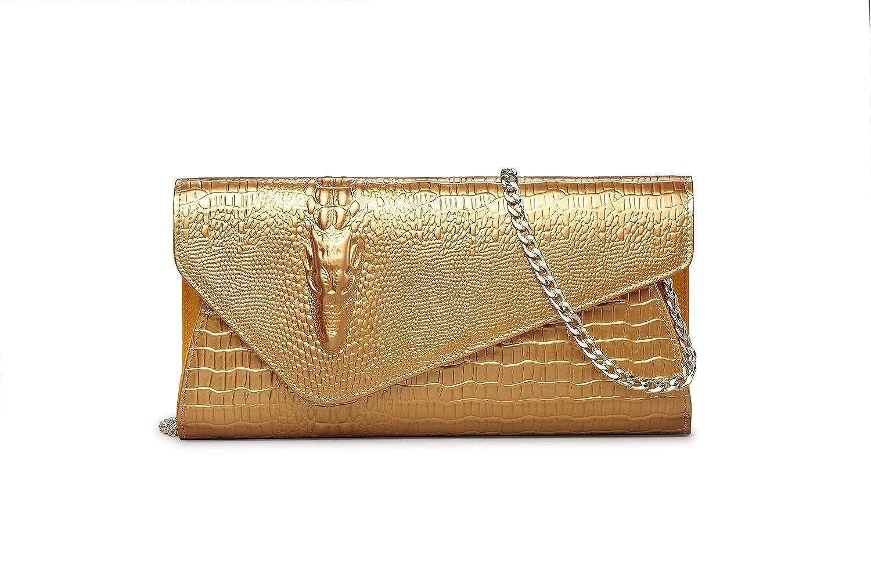 Eastylish Women's Luxury Wax Genuine Cow Leather Crocodile Shiny Evening Party Handbag Shouder Bag Purse