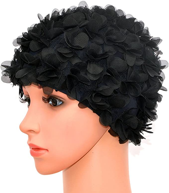 1950s Women's Hat Styles & History Medifier Lace Vintage Swim Cap Floral Petal Retro Style Bathing Caps for Women Rose  AT vintagedancer.com