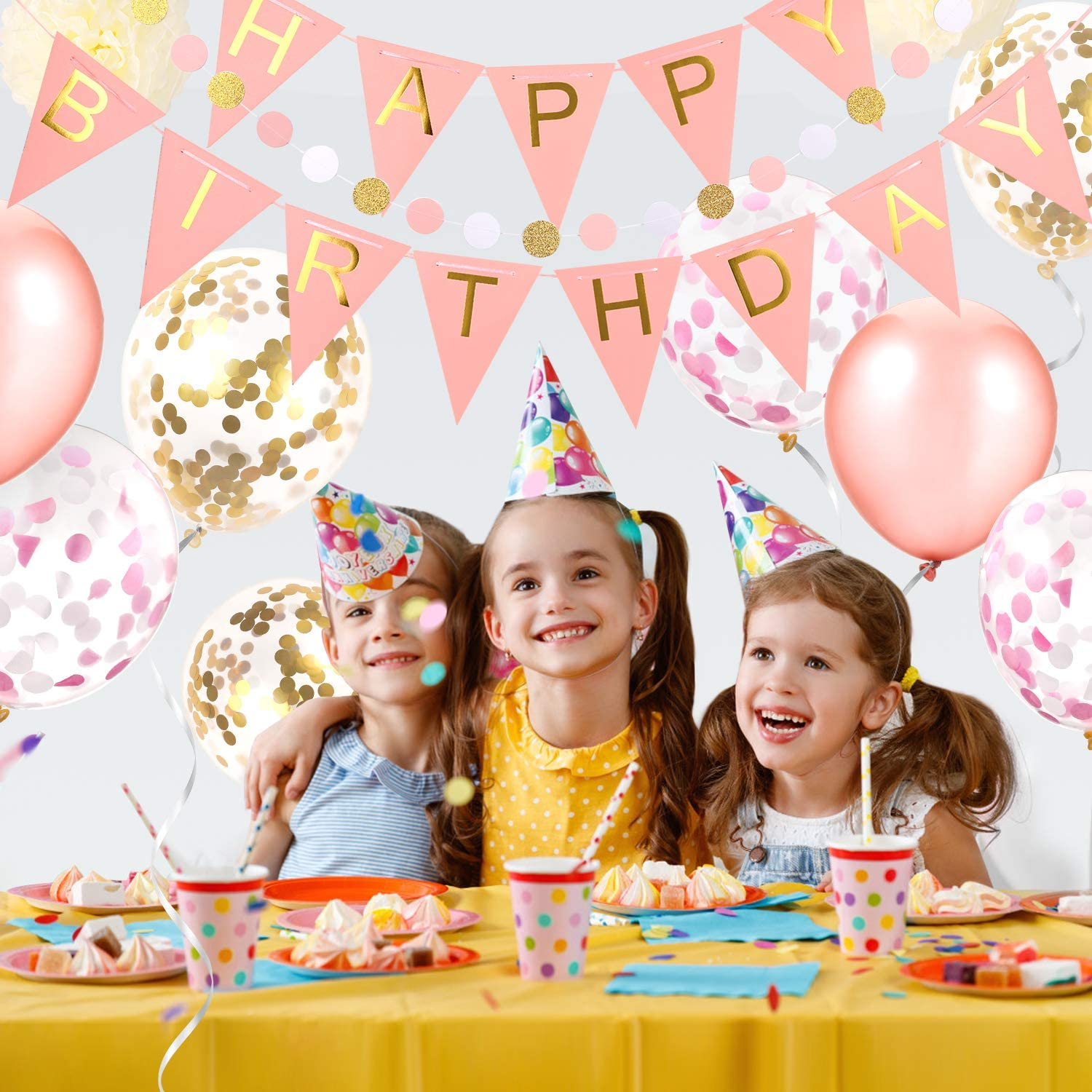 Birthday Banner Confetti Balloons Pom Poms Tissue Flowers Hanging Swirl Streamers All-in-One Princess Party Supplies GAGAKU Happy Birthday Party Decorations for Women Girls