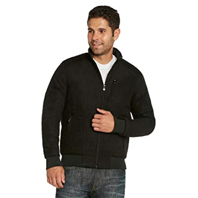 9 Crowns Men's Faux-Suede Quilted Moto Modern Fit Jacket Coat at Amazon Men's Clothing store
