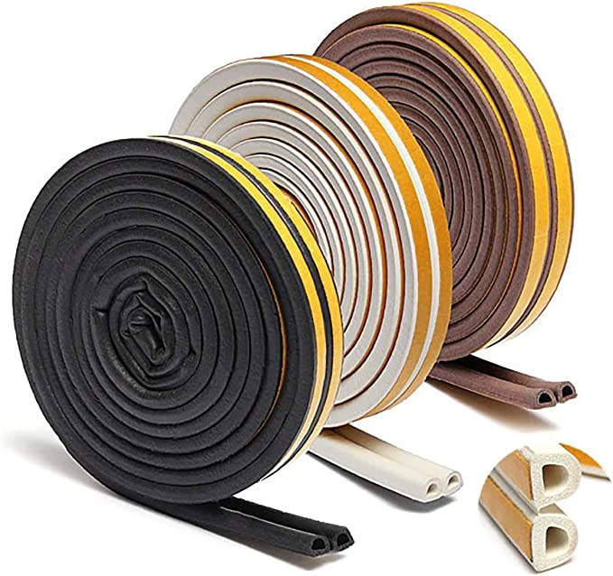 Weather Stripping for Door-1pc 5m Self Adhesive D Type Doors and for Windows Foam Seal Strip Soundproofing Collision Avoidance Rubber Seal Collision-by WAATSTORE (Black) - - Amazon.com