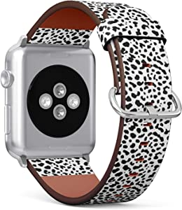 Compatible with Apple Watch (Big 42mm/44mm) Series 1,2,3,4 - Leather Band Bracelet Strap Wristband Replacement - Dalmatian Dog Spot