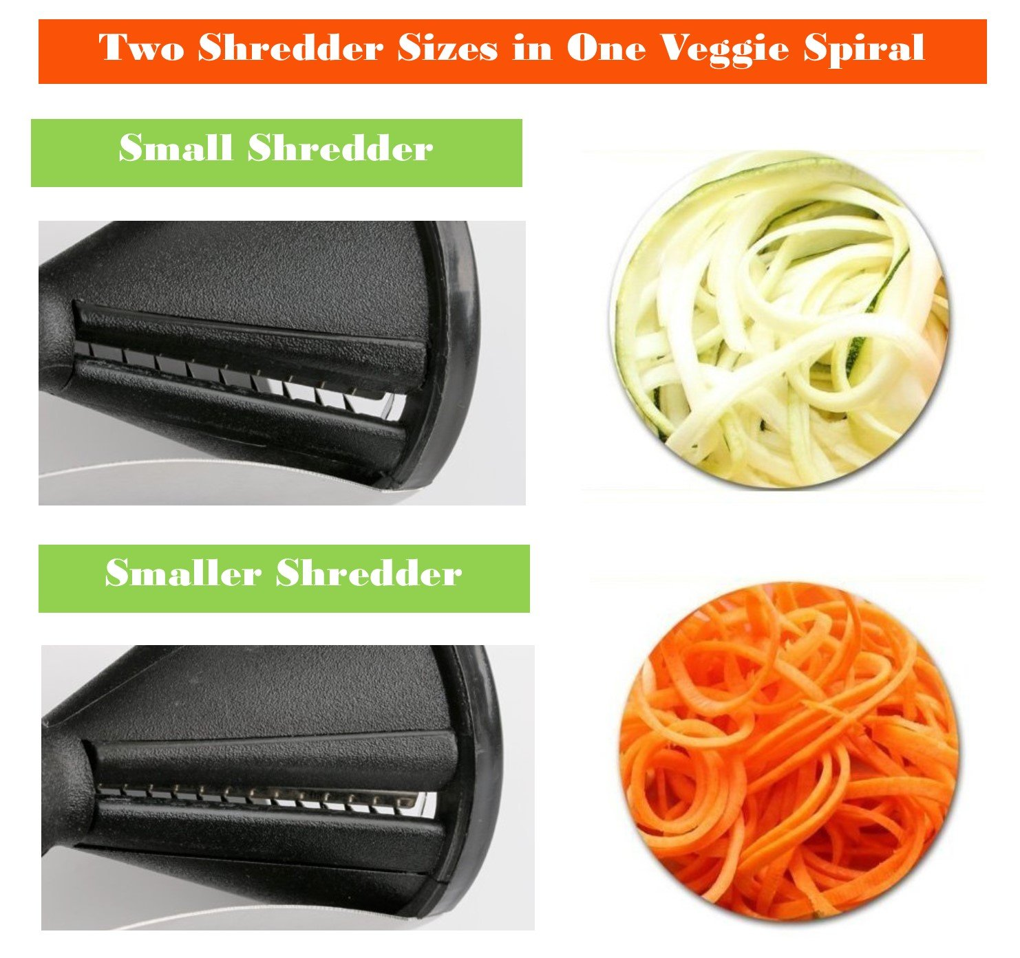Top Vegetable Spiraler Cutter Slicer Small Green Folding Cutting Board Cheese Zester Kitchen Essential Birthday Present Idea Family Mom Dad Grandpa Brother Chef Cook Set Best Stocking Stuffer College by JCCentral (Image #2)