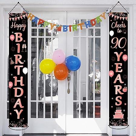 90 Geburtstag Party Banner Dekorationen 90 Jahre Alte Geburtstagsfeier Liefert Stoff Willkommen Veranda Zeichen Für Indoor Outdoor Drogerie Körperpflege