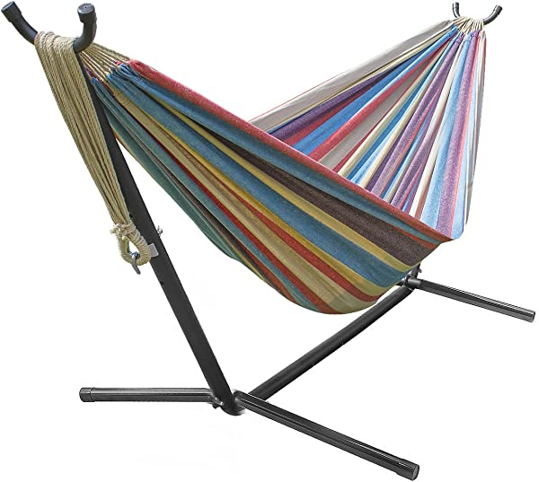 Sorbus Double Hammock with Steel Stand Two Person Adjustable Hammock Bed - Storage Carrying Case Included (Blue/Sand/Purple/Red)