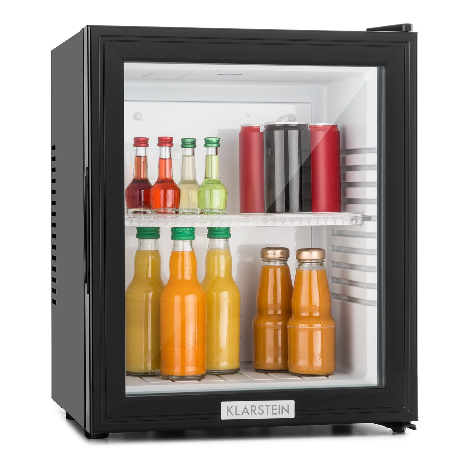 Klarstein MKS-12 Mini Bar Refrigerator Cooler 24 Litre Capacity Fridge 1 Shelf Rack Reversible Door Low Noise Level Quiet Operation Easy to Clean Environmental Friendly Black [Energy Class A]