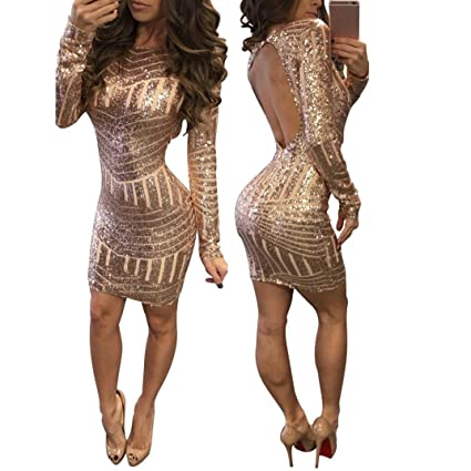 a8963676 Snowfoller Fashion Women Sexy Sequin Reveal Backless Hip Dress Long Sleeve O -Neck Back Hollow