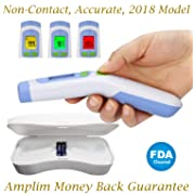 Hospital Medical Grade No Touch Non Contact FDA Approved Digital Infrared Temporal Forehead Thermometer + Case for Baby/Adult/Kid/Toddler/Infant/Nurse. Amplim Best Head Fever Temperature Termometro