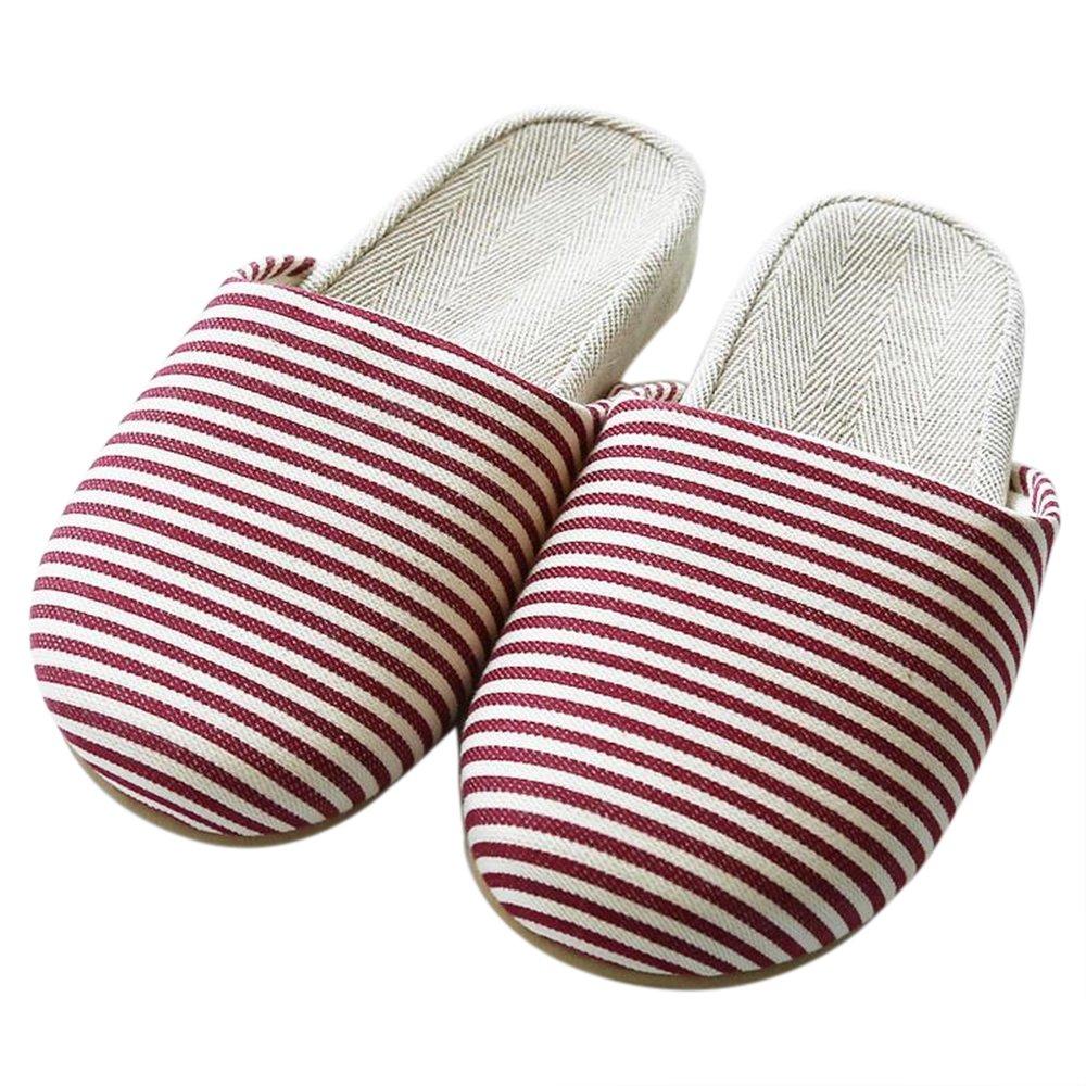 LOVE of ANTS Women Men Indoor Linen Striped Slippers (6-10 B(M) US, red)