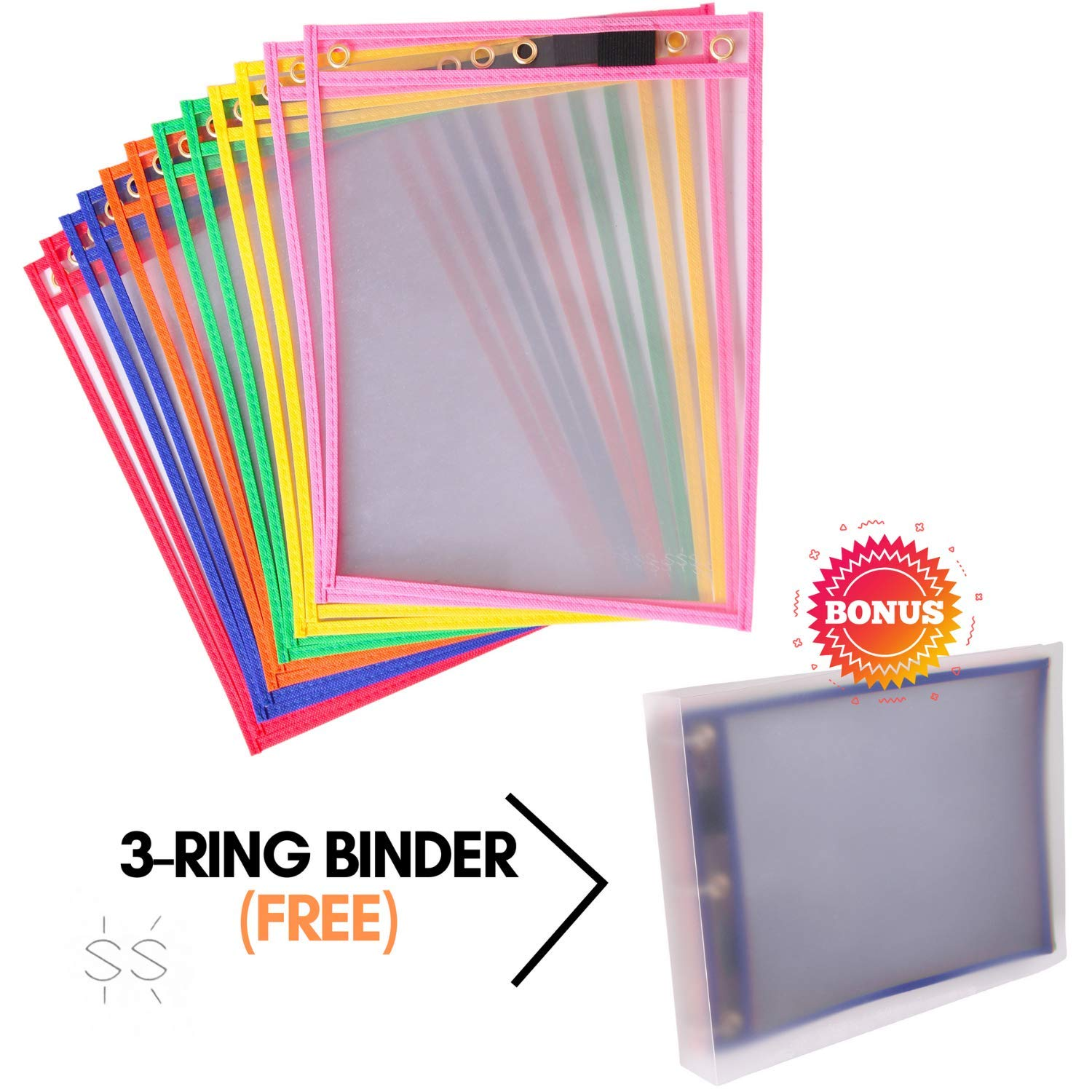 Dry Erase Pockets [10 x 13 inches] with Clear 3-Ring Binder [11 x 14 inches] | Pack of 12 Reusable Dry Erase Sleeves | Heavy Duty Job Ticket Holder | 6 Different Colors | by SakhaStore