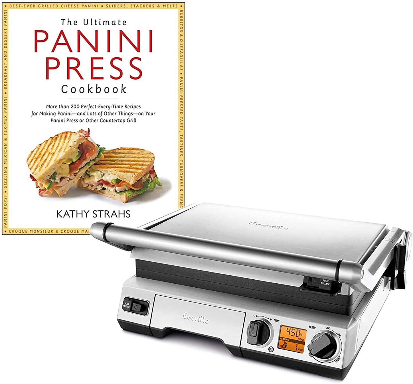 """Breville BGR820XL Smart Grill Panini Press Bundle with""""The Ultimate Panini Press Cookbook More Than 200 Recipes"""" Cookbook - Stainless Steel"""
