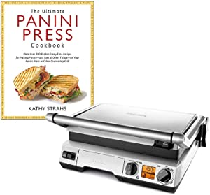 "Breville BGR820XL Smart Grill Panini Press Bundle with""The Ultimate Panini Press Cookbook More Than 200 Recipes"" Cookbook - Stainless Steel"