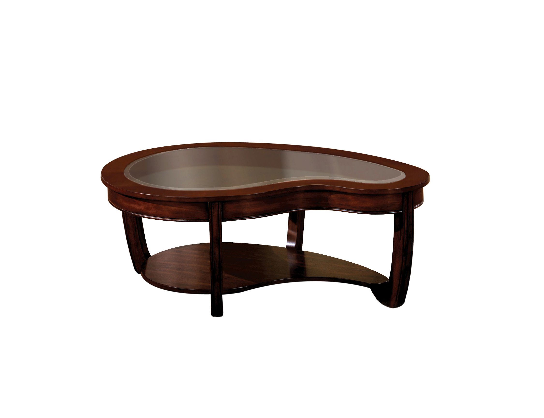 Furniture of America Byrnee Coffee Table with 5mm Beveled Glass Top, Dark Cherry Finish by Furniture of America