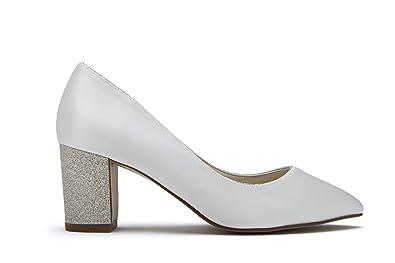 c4bc855be1bf Rainbow Club Bambi - Ivory Satin Shimmer Block Heel Court Shoe ...