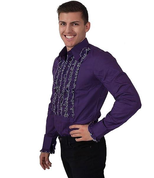 Chenaski 70er Jahre Kleidung Ruschenhemd Herren Lila