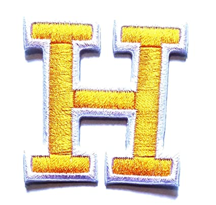 a3f5770c6398 Amazon.com: Yellow H Letter Patch A to Z Alphabet Letters Iron On Or Sew  Applique Embroidered Patch for Study English Skills Enhancement Kids ...