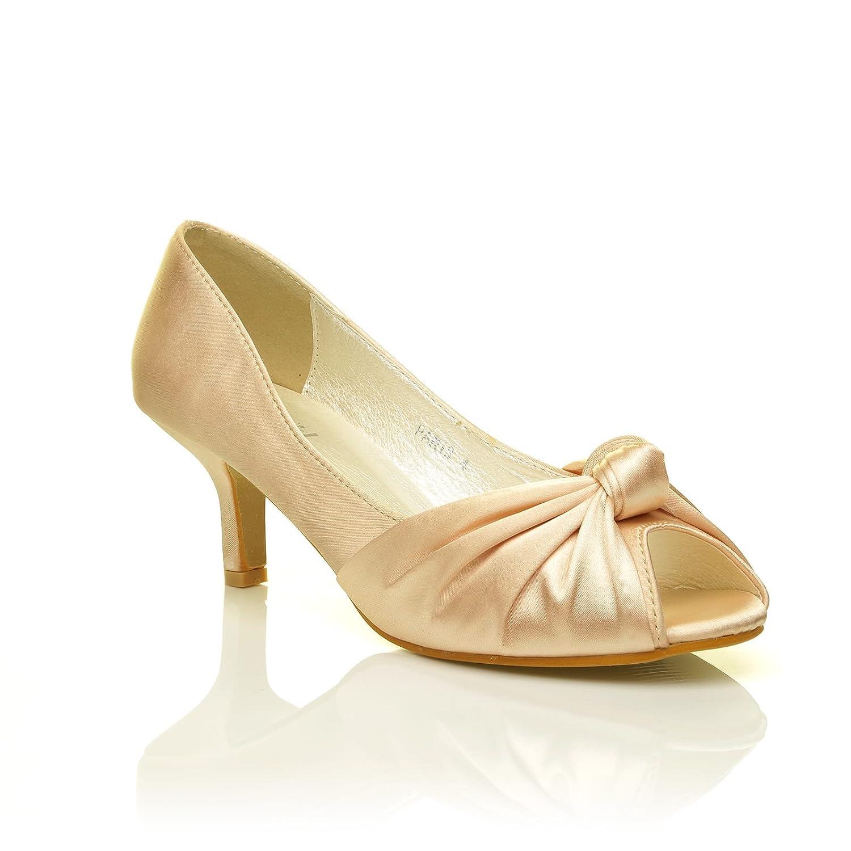 ShuWish UK Paris Champagne Gold Satin Kitten Medium Heel Bridal Peeptoe  Shoes: Amazon.co.uk: Shoes & Bags