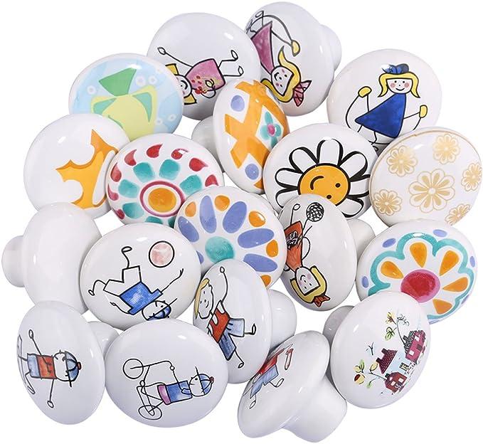MRKE 10Pcs Boutons de Meuble Enfant Dessin Anim/é Ceramique Poign/ée de Meuble avec 25MM Vis pour Porte//Tiroir//Cabinet//Placard//Salle de Bain//Penderie//Cuisine//Armoires Al/éatoire 10 Pi/èces
