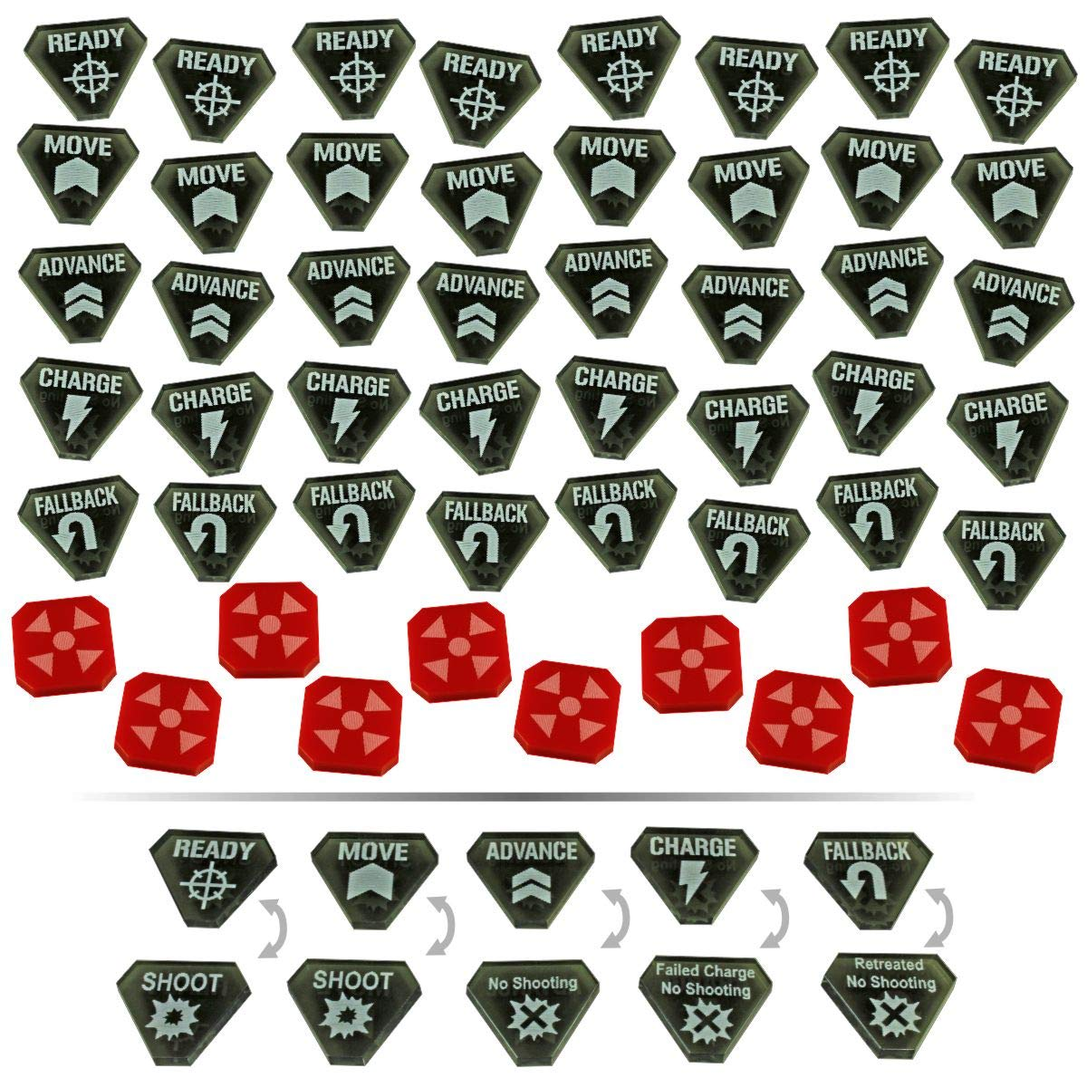 LITKO Combat Token Set Compatible with WH:KT, Translucent Grey & Red (50) by LITKO