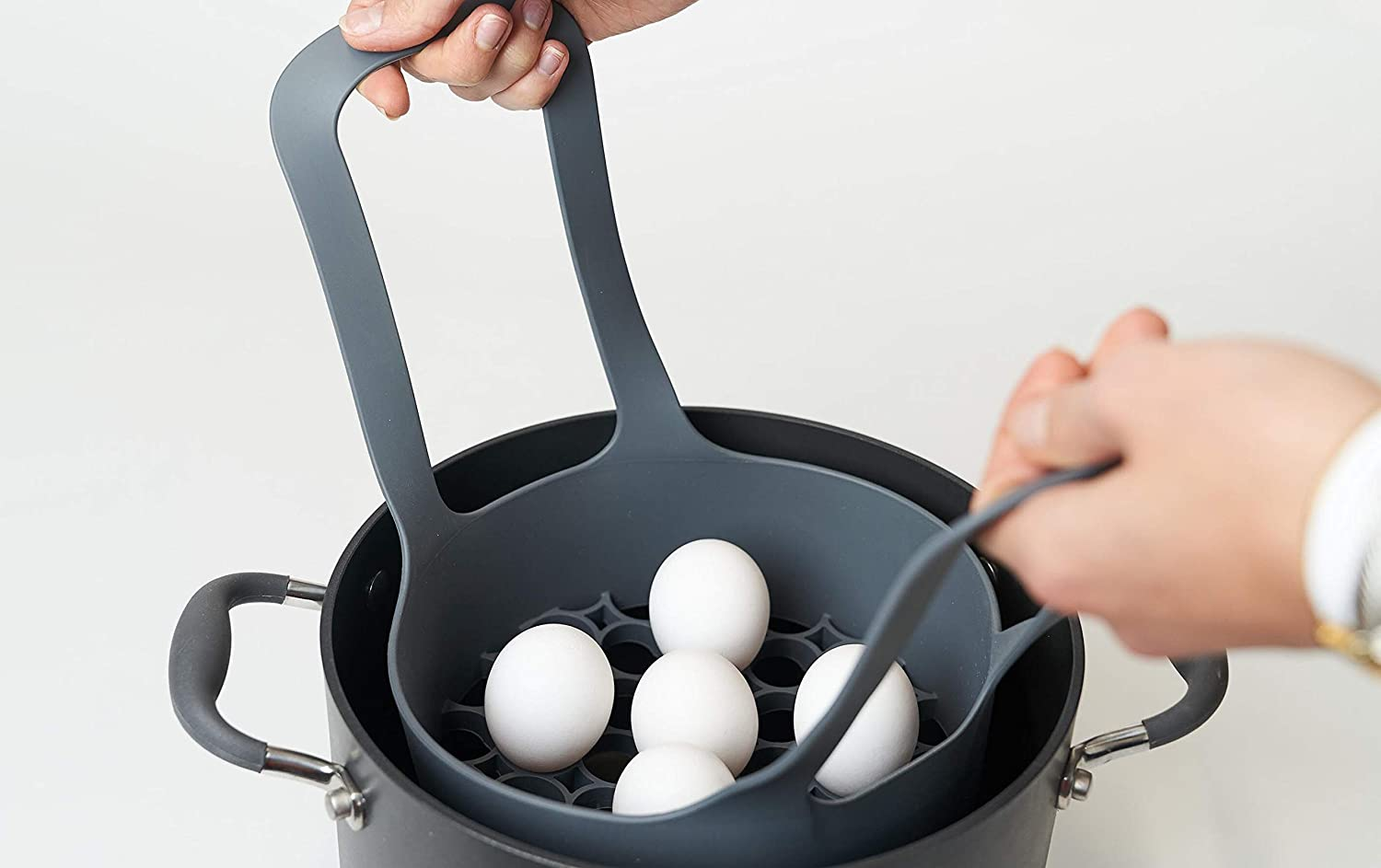 ORA Silicone Steamer/Boil Basket & Egg Cooker- Compatible with Instant Pot, Pressure Cooker and Traditional Cookware- Boil & Steam Eggs Crack Free