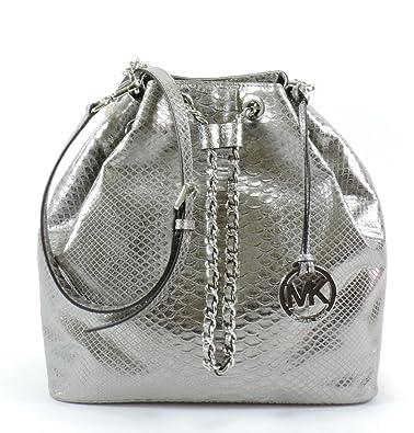 33ea7d9ee5fbe1 MICHAEL Michael Kors Frankie Python Embossed Large Convertible Shoulder Bag  (Dark Silver): Handbags: Amazon.com