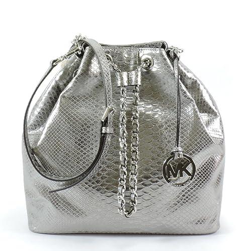 bdf7d64eb88a Michael Kors Frankie Large Drawstring Convertible Shoulder Tote Dark Silver  Embossed Leather
