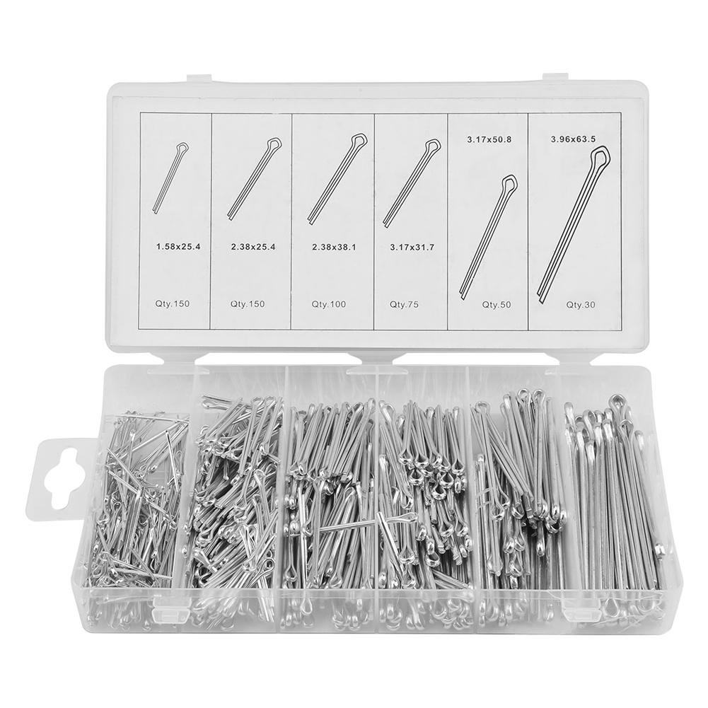 555pc Cotter Pins set Catch Pin Mechanical Hitch Capelli Trattore Fastener Clip Kit wit Case